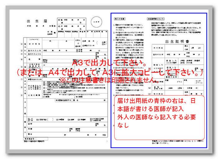 外務省からダウンロードした出生届の説明