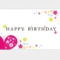 「HAPPY BIRTHDAY」の文字が大きく中央に。ハートと花がまるでダイヤモンドの様に輝くオシャレなバースデーカードのテンプレ.