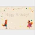 「Happy Birthday!!」の文字と動物達が祝福しているメッセージカードです。お誕生日カードにピッタリのメッセージカード。