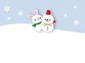 寒中見舞いうさぎと雪だるま