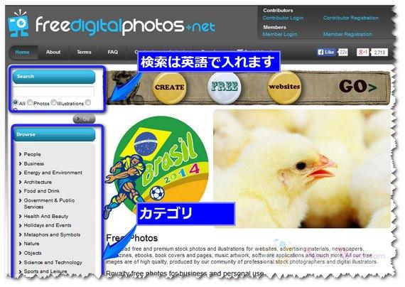 freedigitalphotos.net トップ画面 検索