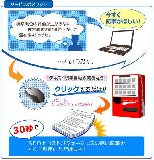 SEO対策用のテキスト記事自動販売機 メリット。