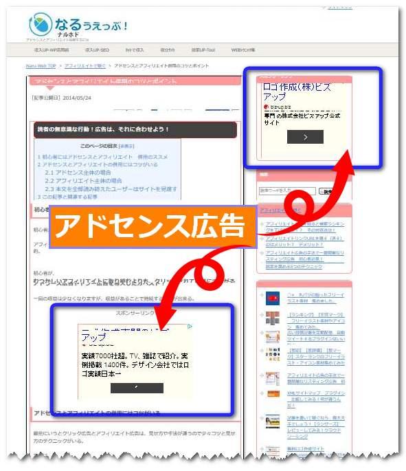 アドセンス アフィリエイトの併用 ページ上部のアドセンスの貼り方