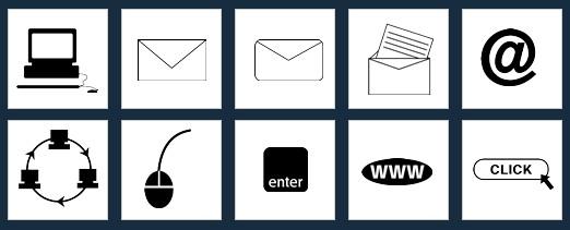 メール/インターネット-02の無料アイコン素材(シルエット・シンボル・マークにも)
