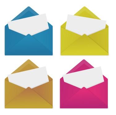 カラフルでかわいい!メール(封筒)のフリーイラスト素材(EPS) - Free-Style