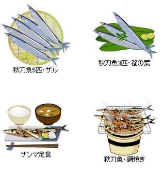無料素材の『季節・行事素材のイラスト市場』秋の素材・秋刀魚(サンマ)・のイラスト