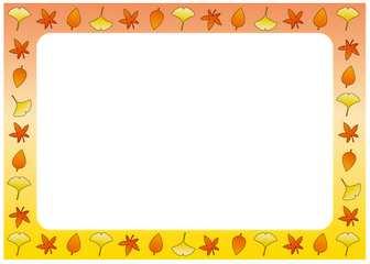 紅葉と秋の味覚の季節の飾り枠-秋のフレーム-無料ビジネスイラスト素材のビジソザ