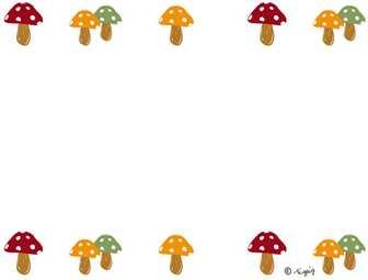 大人可愛いキノコの飾り罫のイラストの秋のwebデザイン素材;640×480pix | かわいいイラスト,ロゴ制作 tigpig