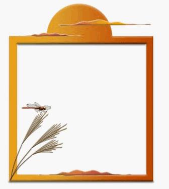 ススキと赤とんぼの飾り枠イラストをダウンロード   イラスト無料【DDBANK】