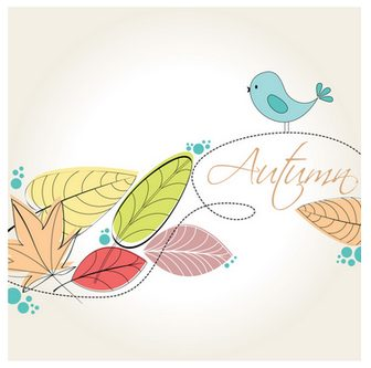 秋のイラストNo.268『紅葉と小鳥-ポップ』/無料のフリー素材集【花鳥風月】