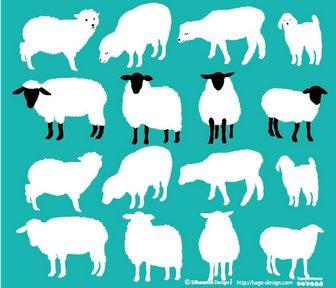 羊が数匹 | 商用フリーで使える影絵素材サイト シルエットデザイン
