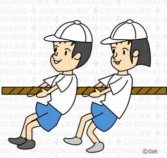 運動会で綱引きする小学生のイラスト素材 dakImage(ダックイメージ)