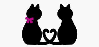 » 黒猫、白猫カップルシルエットイラスト / 尻尾でハート | 可愛い無料イラストのフリー素材集