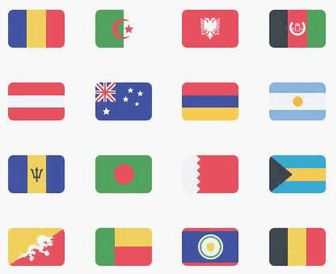 無料素材:世界の万国旗を揃えたフラットパネル型アイコン素材195個セット