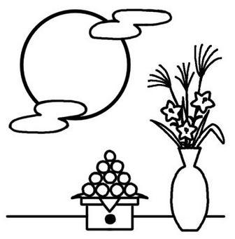 十五夜1/お月見・十五夜/秋のイラスト/無料【白黒イラスト素材】