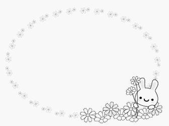 白黒枠 コスモス-秋のイラスト・無料イラスト/フリー素材