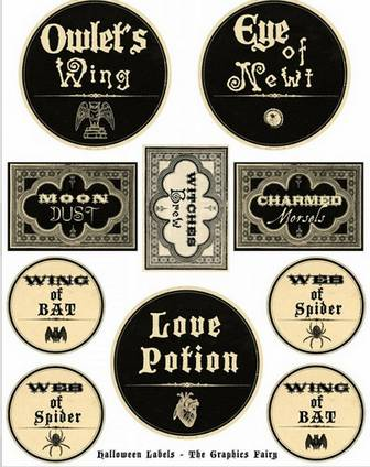 Free Printable Halloween Labels - Potions