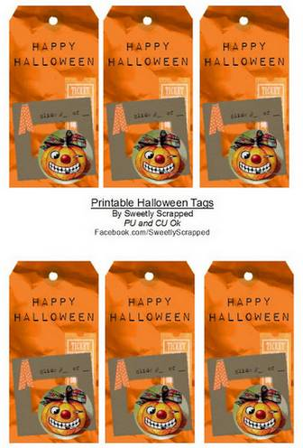 Sweetly Scrapped: Happy Halloween Tags - Free Printable, Collage Style