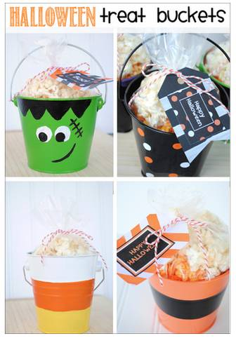 Halloween Treat Buckets & Printable Halloween Gift Tags