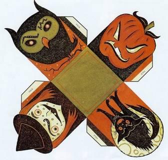 ハロウィンのかぼちゃのランタン・魔女・ふくろうの入れ物 ペーパークラフト (JPEG 画像, 400x387 px)