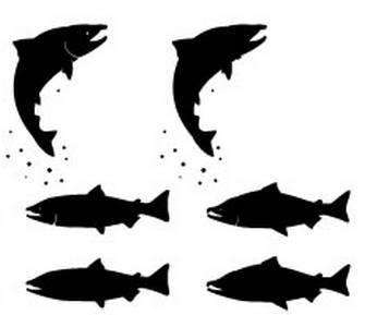 鮭(しゃけ)いろいろ   商用フリーで使える影絵素材サイト シルエットデザイン