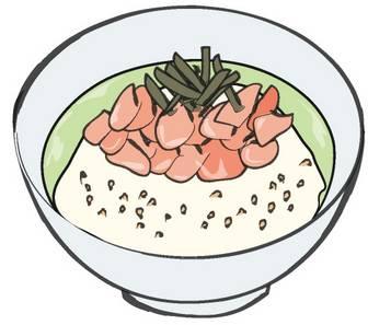 03-お茶漬け/鮭茶漬けのクリップアート 食べ物フリーイラスト配布中