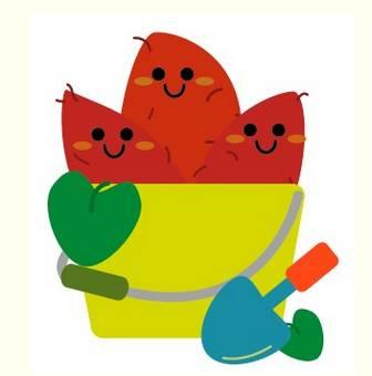 秋のイラスト「芋掘り・さつまいも」   たかやん素材net