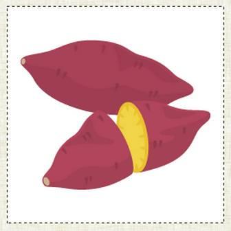 「サツマイモ - イラスト素材   商用利用可のベクターイラスト素材集「ピクト缶」