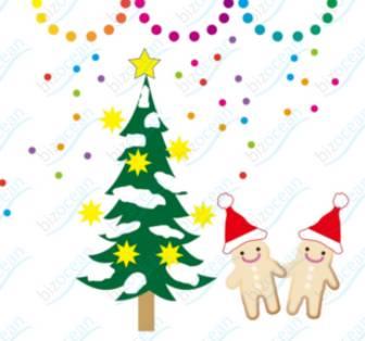 クリスマスツリーとジンジャーブレッドマン|テンプレートの無料ダウンロードは【書式の王様】