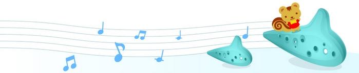 音楽:オカリナ+リスのイラスト(タイトルバナー)|フリー素材|素材のプチッチ