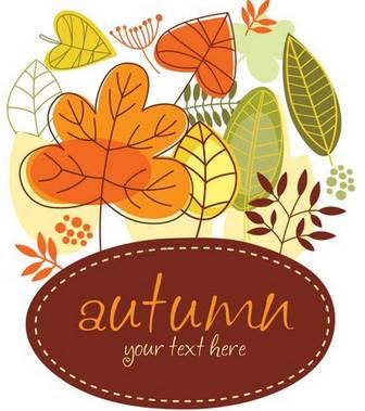 秋をイメージした落ち葉のイラスト素材、背景素材のset - Free-Style