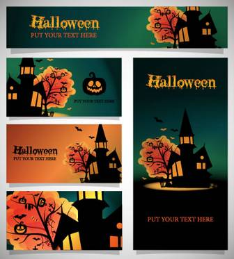 ハロウィンカード/館,かぼちゃランタンのイラストai/eps | ベクタークラブ<イラストレーター素材が無料>