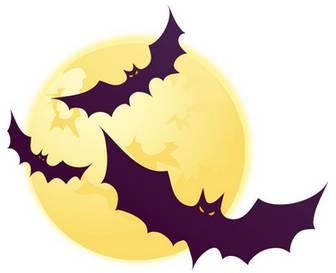 ハロウィンのイラストNo.053『月とコウモリ』/無料のフリー素材集【花鳥風月】