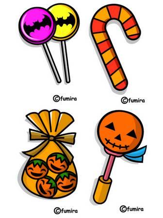 ハロウィン/ハロウィンのお菓子のイラスト