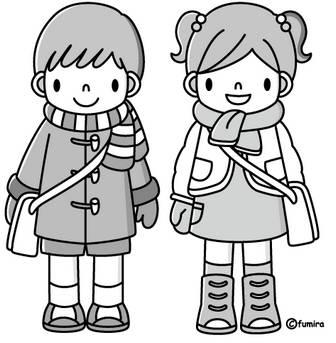 冬の登園(モノクロ)