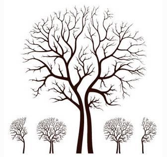 枯れ木シルエット/秋冬のイラストai/eps | ベクタークラブ<イラストレーター素材が無料>