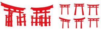 鳥居のシルエット | 商用フリーで使える影絵素材サイト シルエットデザイン