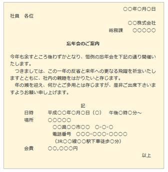 忘年会の案内状・招待状 | 手紙の書き方大事典
