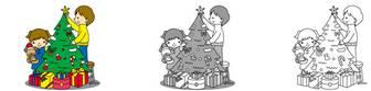 クリスマスのイラスト素材4・クリスマスツリー