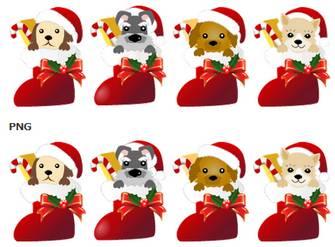 クリスマスブーツと犬イラストアイコン集 画像フリー素材|無料素材倶楽部