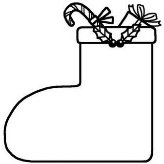 クリスマスブーツ(白黒)/飾り枠1/クリスマスのイラスト素材