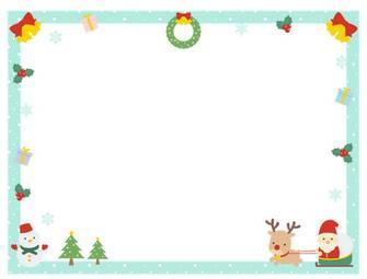 【12月/冬のイラスト】クリスマスのフレーム飾り枠イラスト(サンタ/トナカイ/ツリー/リース/雪だるま/プレゼント/柊)