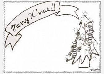 フリー素材:フレーム;北欧風のシンプルなレースの囲み枠とクリスマスツリーとMerryX'masの手書き文字のリボン;640×480pix | かわいいイラスト,ロゴ制作 tigpig