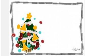 フリー素材。webデザインに使えるガーリーなイラスト素材@http://tigipg.cpm クリスマスのフリー素材:ポップなクリスマスツリーのイラストとモノトーンのラフな鉛筆の囲み枠;640×480pix