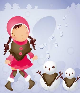[フリー素材] 雪だるまと女の子のイラスト (cc-library010004056)   CCライブラリー 【フリー素材集】