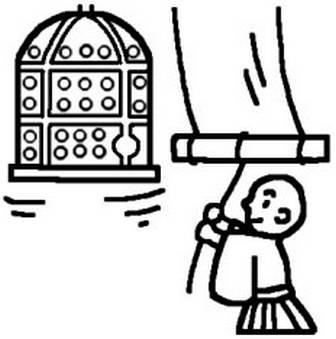 除夜の鐘(白黒)/歳末・年末風景の無料イラスト/冬/ミニカット・クリップアート素材