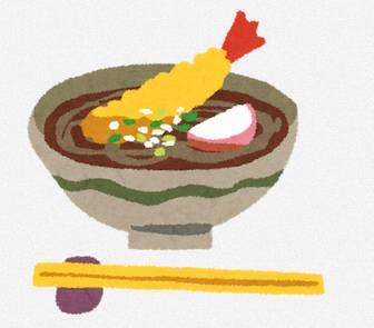年越しそばのイラスト「海老の天ぷらそば」: 無料イラスト かわいいフリー素材集