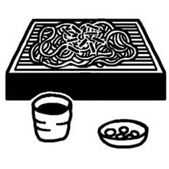 ざるそば/丼(どんぶり)/料理/ミニカット/無料【白黒イラスト素材】