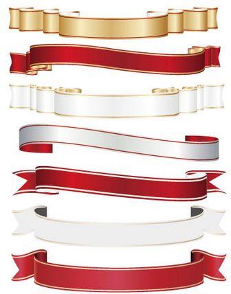 リボンフレーム-金,銀,赤,白のイラストai/eps | ベクタークラブ<イラストレーター素材が無料>