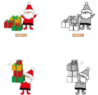 クリスマスのイラスト/サンタクロースのクリスマスプレゼント-無料イラスト/フリー素材